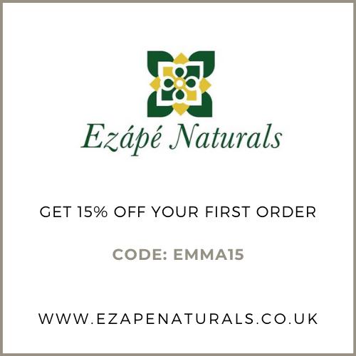 Ezape Naturals 15% off first order discount code: EMMA15