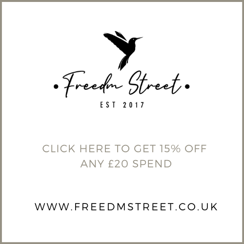 Click here is get 15% off at Freedm Street (on Orders over £20)