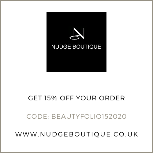Get 15% off at Nudge Boutique with the discount code: BEAUTYFOLIO1520202