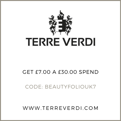 Get £7 off your £30.00 order at Terre Verdi with the discount code BEAUTYFOLIOUK7