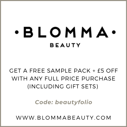 Blomma Beauty Discount - Get a free sample pack and £5 off with any full sized purchase with the code: beautyfolio