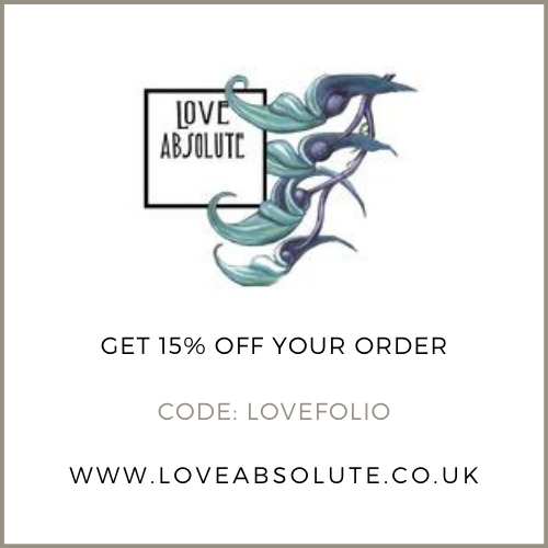 Get 15% off at Love Absolute with the discount code LOVEFOLIO