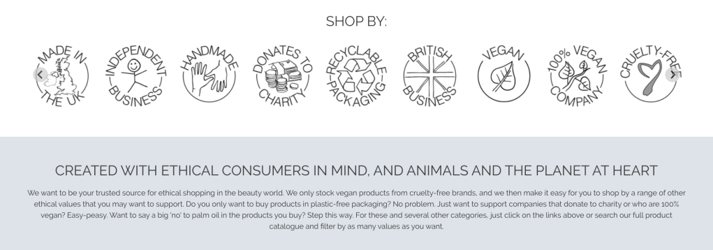 A screenshot of the Lovethical website showing all the various icons to identify brand values and ethics - review by Beautyfolio.co.uk