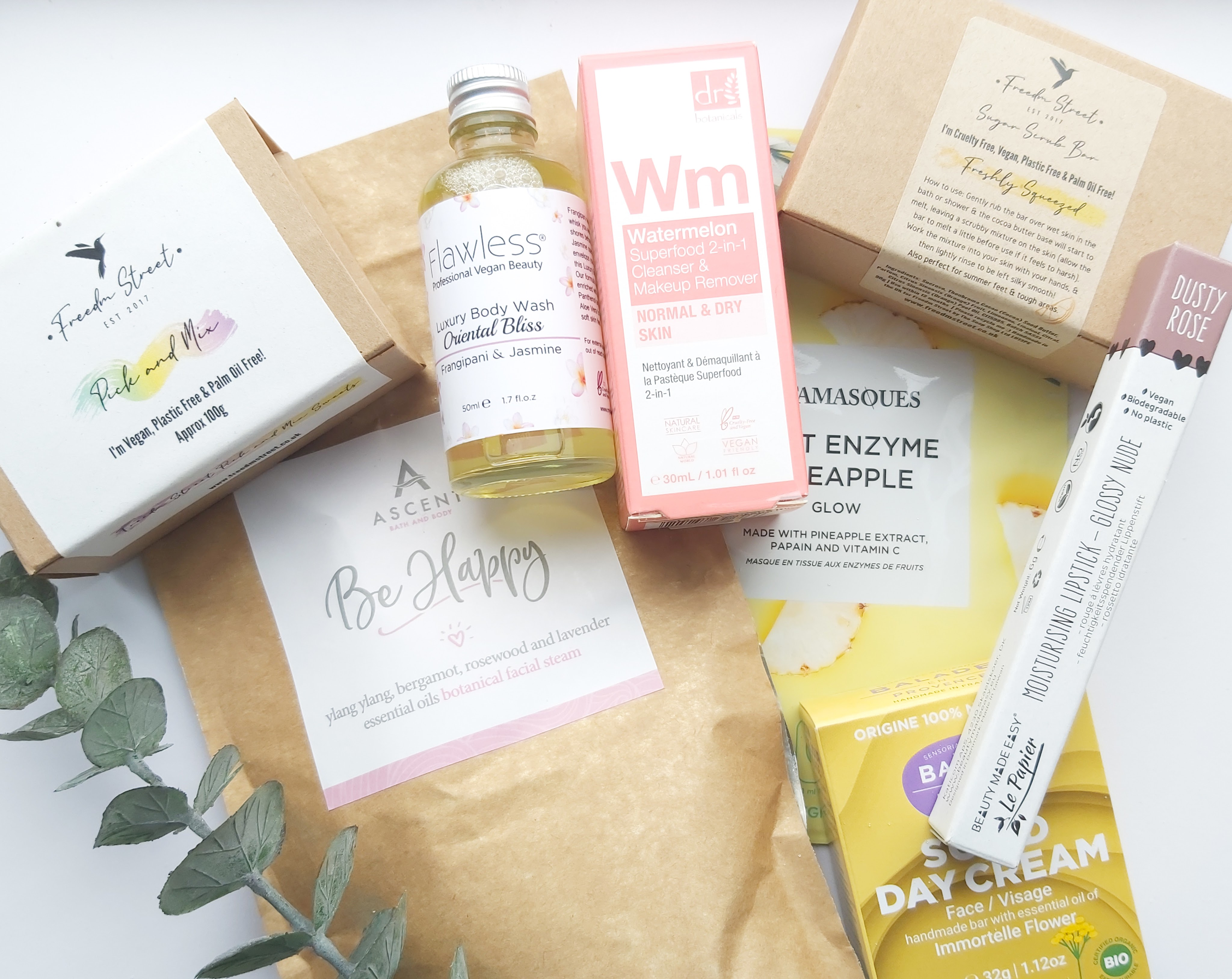 All the items from the Freedm Street Original Box laid out together with a stem of Eucalptus - Review by Beauty Folio