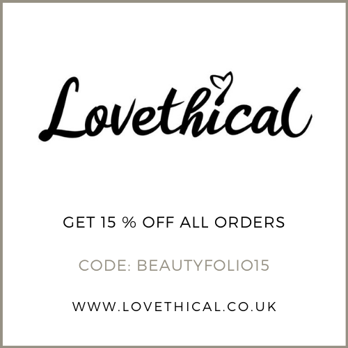 Lovethical discount/promo code 15% off all orders with the code BEAUTYFOLIO15