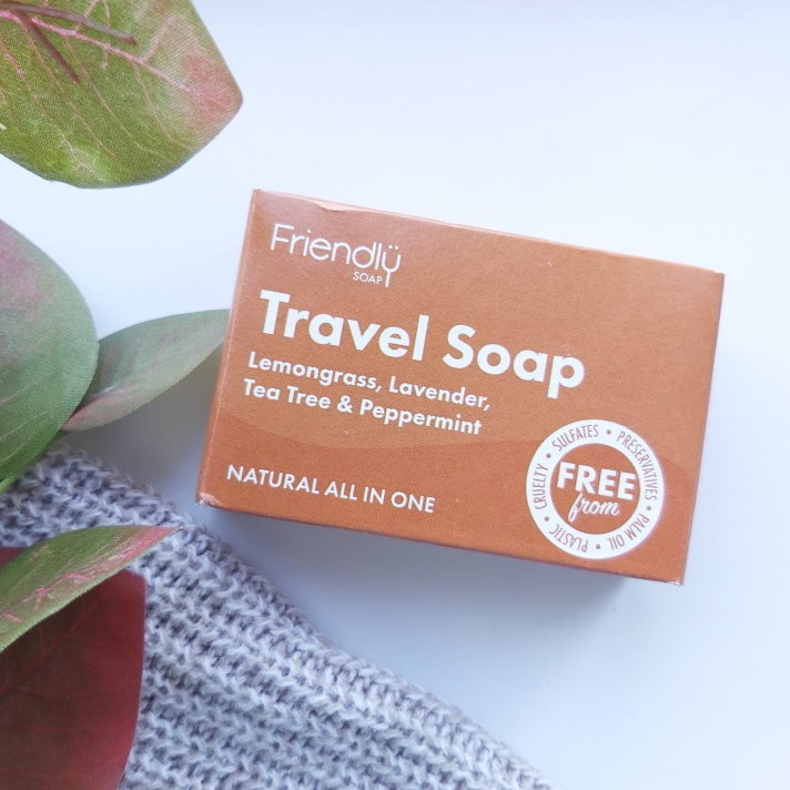 The Natural Beauty Box Replenish Box Friendly Soap Travel Soap in Orange Cardboard Box with autumn leaves and knitted throw - September Beauty Box - Review by Beauty Folio